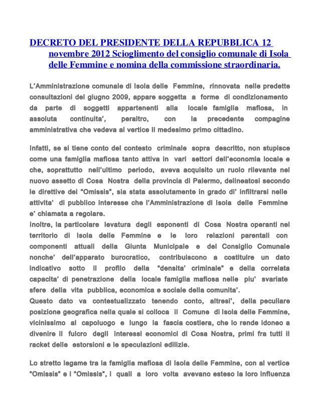 Okdecreto del presidente della repubblica 12 novembre 2012 for Decreto presidente della repubblica
