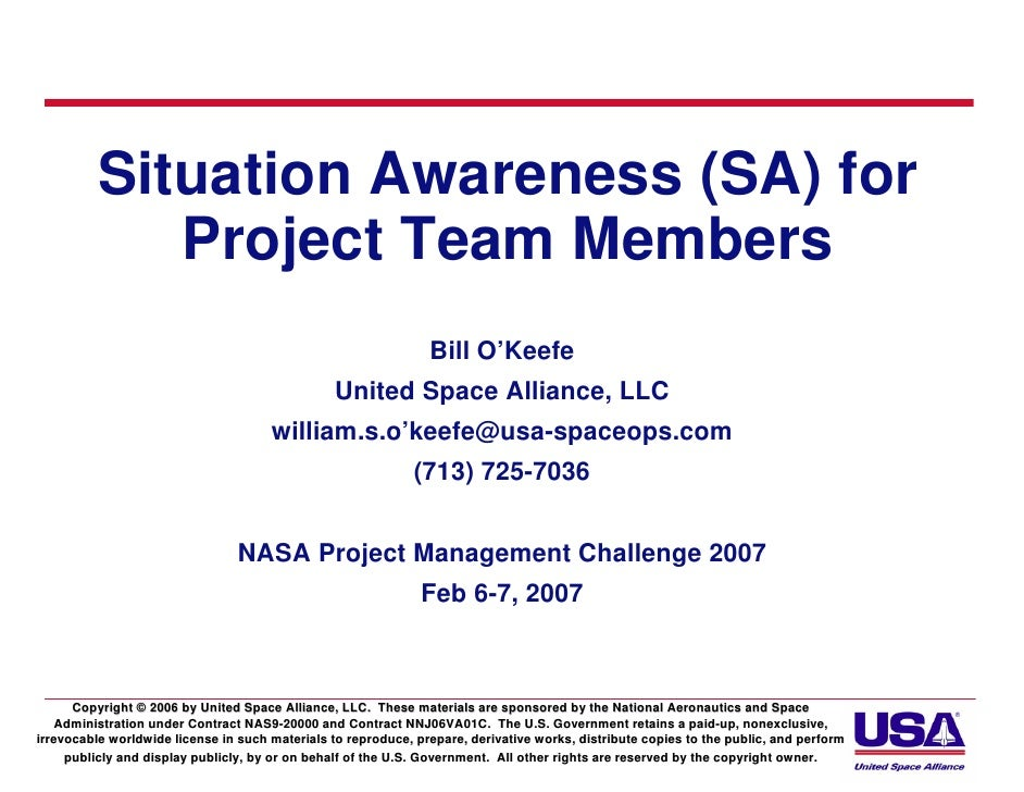 Situation Awareness (SA) for             Project Team Members                                                             ...