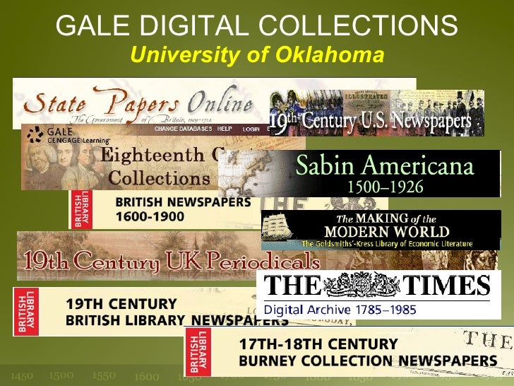 GALE DIGITAL COLLECTIONS University of Oklahoma