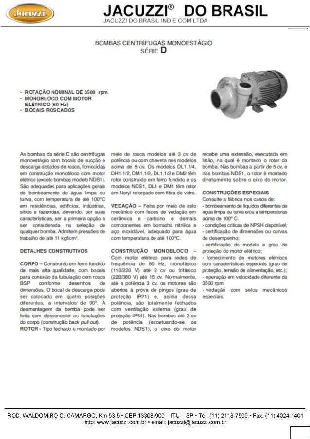 Bomba Jacuzzi Série D