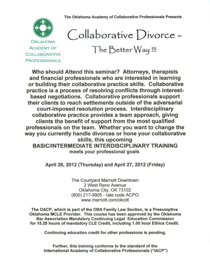 The Oklahoma Academy of Collaborative Professionals Presents  Oklahoma                   doliaoorative X^worce. ~ Academy ...