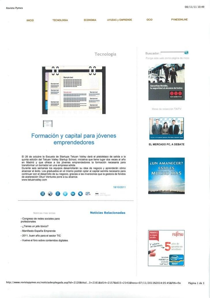 Okuri Ventures & Tetuan Valley - Menciones en medios Nov2011