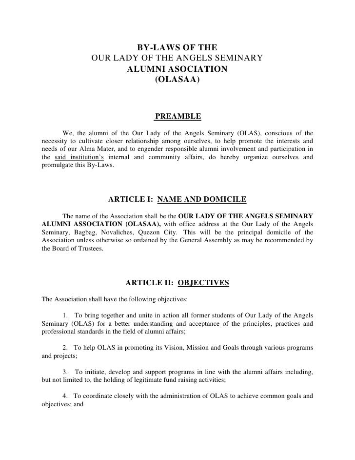 O L A S  Alumni  Cons &Amp;  By  Laws (Revised Draft)