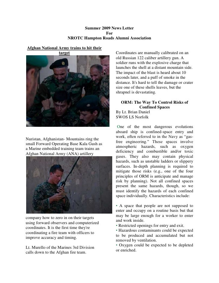 Summer 2009 News Letter<br />For<br />NROTC Hampton Roads Alumni Association<br />Afghan National Army trains to hit their...