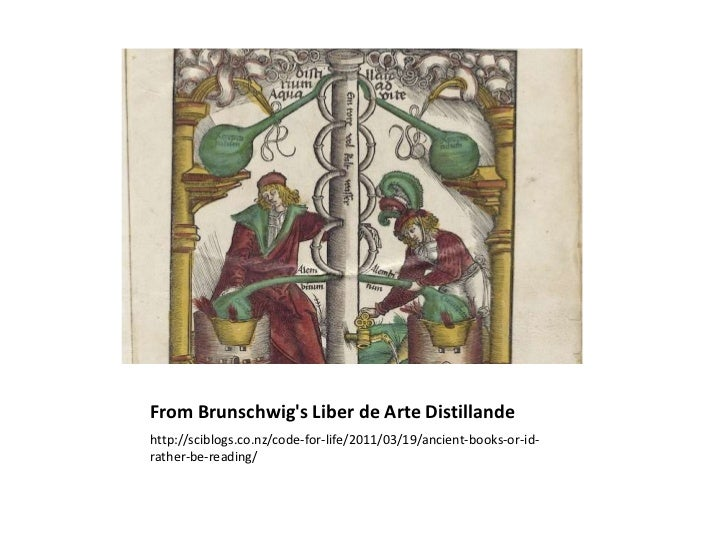 From Brunschwigs Liber de Arte Distillandehttp://sciblogs.co.nz/code-for-life/2011/03/19/ancient-books-or-id-rather-be-rea...