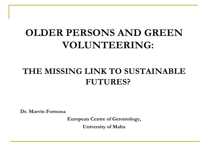 Older persons and green volunteering