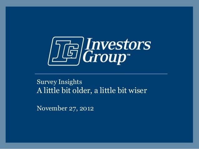 Survey InsightsA little bit older, a little bit wiserNovember 27, 2012
