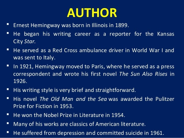 a literary analysis of the old man and the sea by ernest hemingway The old man and the sea (hemingway) thug notes summary and analysis what's goin on thugz this week we can't stop won't stop with the old man and the sea by ernest hemingway.