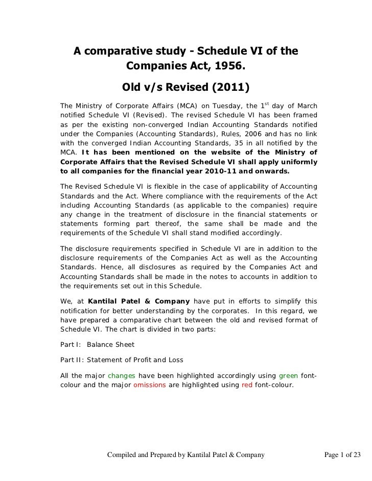 A comparative study - Schedule VI of the            Companies Act, 1956.                  Old v/s Revised (2011)The Minist...