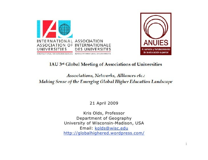 Associations, Networks, Alliances etc.: Making Sense of the Emerging Global Higher Education Landscape
