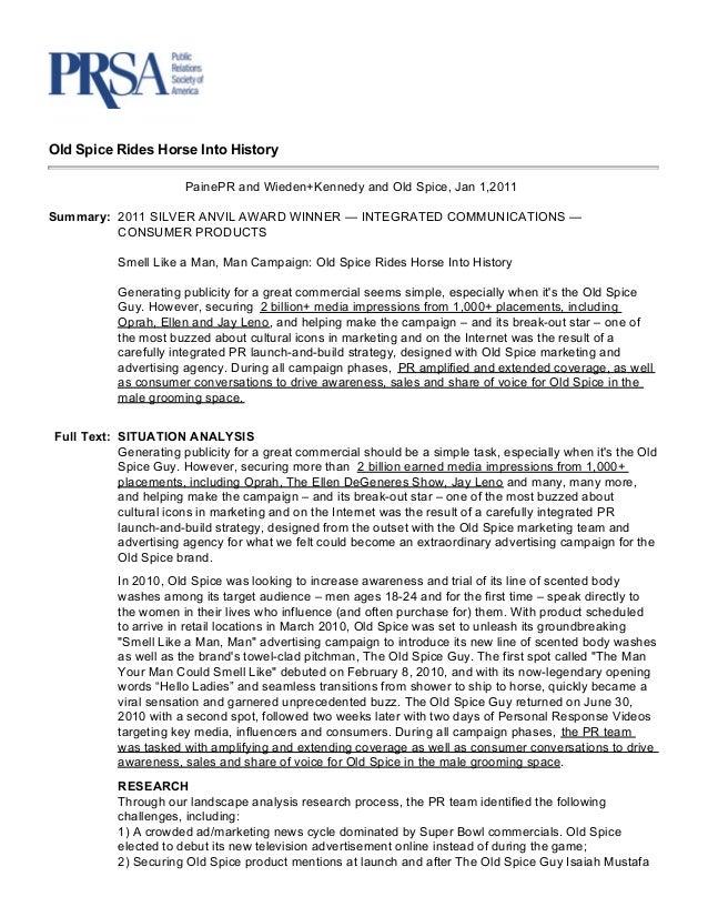 Case Study: Old spice for PRSA