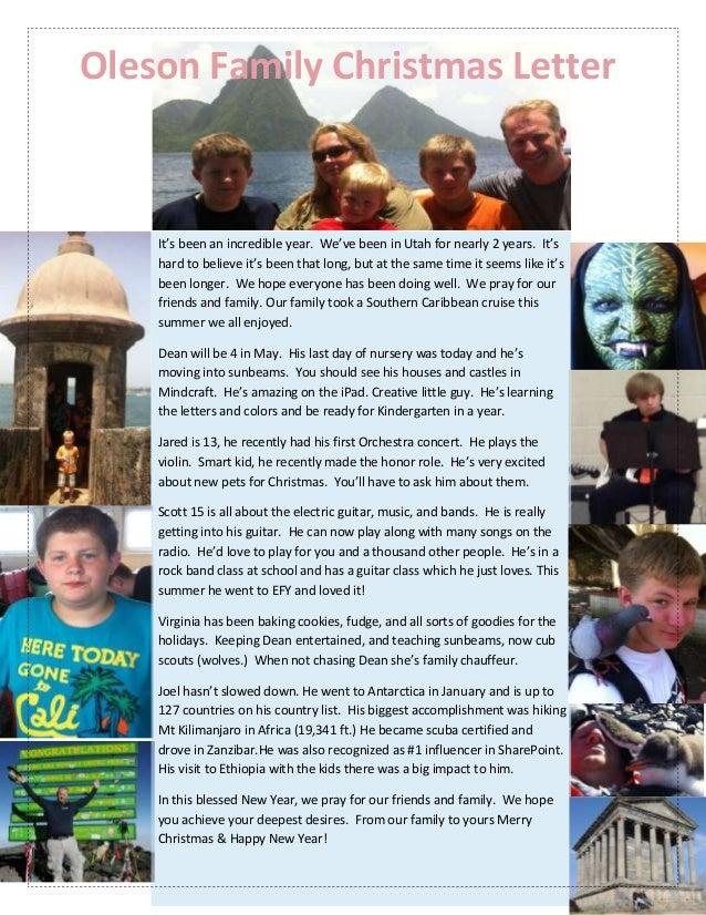 Joel Oleson family christmas letter 2012