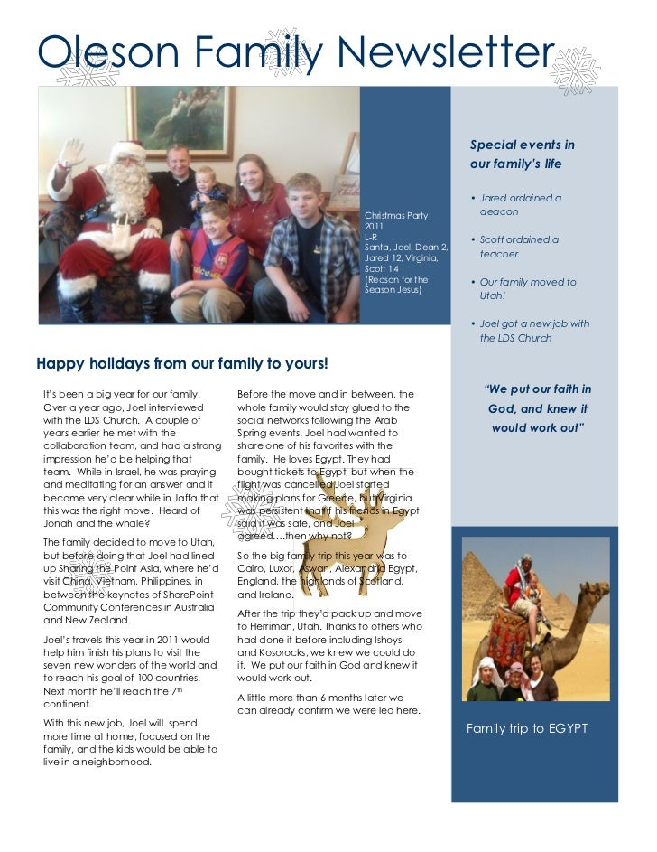 Oleson Family 2011 Holiday Christmas Letter