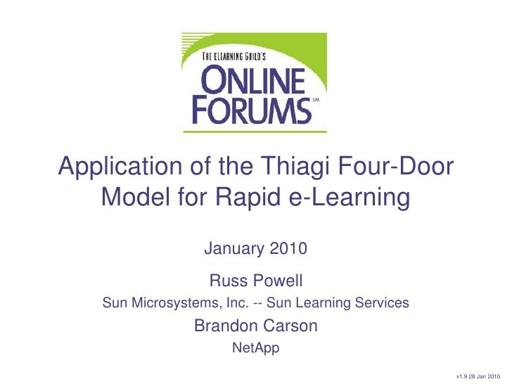 Application of the Thiagi Four-Door Model for Rapid e-Learning<br />January 2010<br />Russ Powell<br />Sun Microsystems, I...