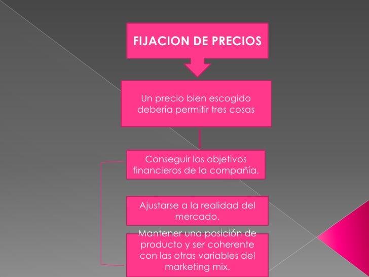 FIJACION DE PRECIOS<br />Un precio bien escogido debería permitir tres cosas<br />Conseguir los objetivos financieros de l...