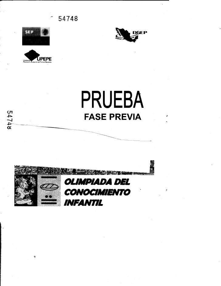 - 54748          PRUEBA   .,   OUMPIADA DEL  . CONOCIMIENTO   INFANTIL
