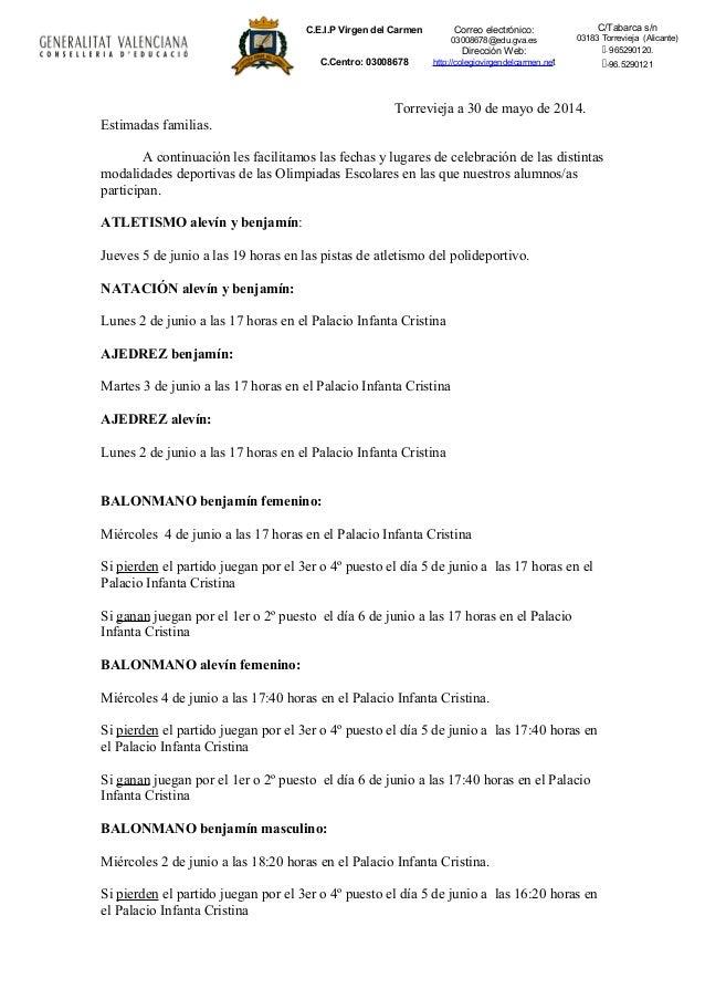 C.E.I.P Virgen del Carmen C.Centro: 03008678 Correo electrónico: 03008678@edu.gva.es Dirección Web: http://colegiovirgende...