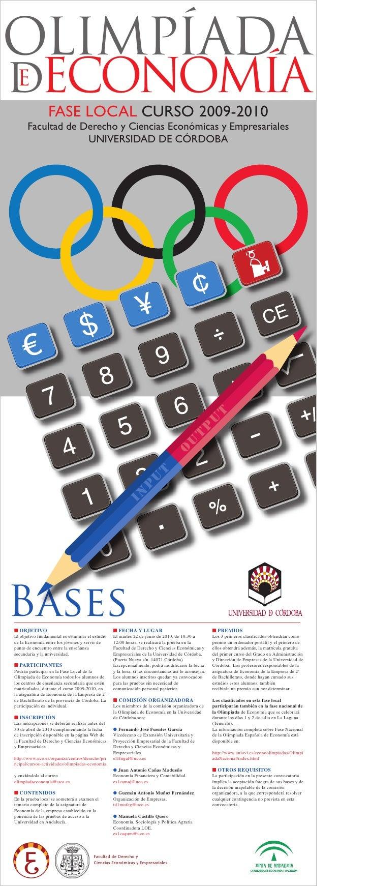 OLIMPÍADA dECONOMÍA E                  FASE LOCAL CURSO 2009-2010       Facultad de Derecho y Ciencias Económicas y Empres...
