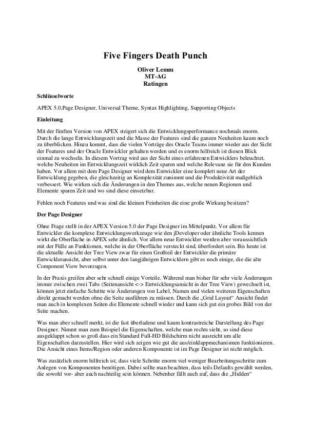 Five Fingers Death Punch  Oliver Lemm MT-AG Ratingen  Schlüsselworte  APEX 5.0,Page Designer, Universal Theme, Syntax High...