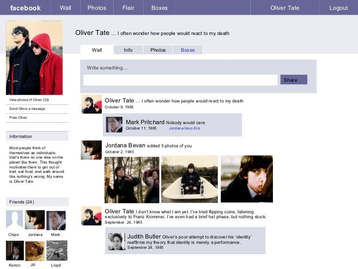 Oliver Tate Fakebook Account