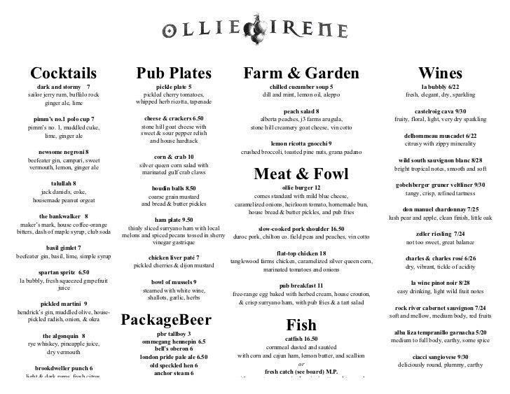 Ollie irene - 2011 dinner menu