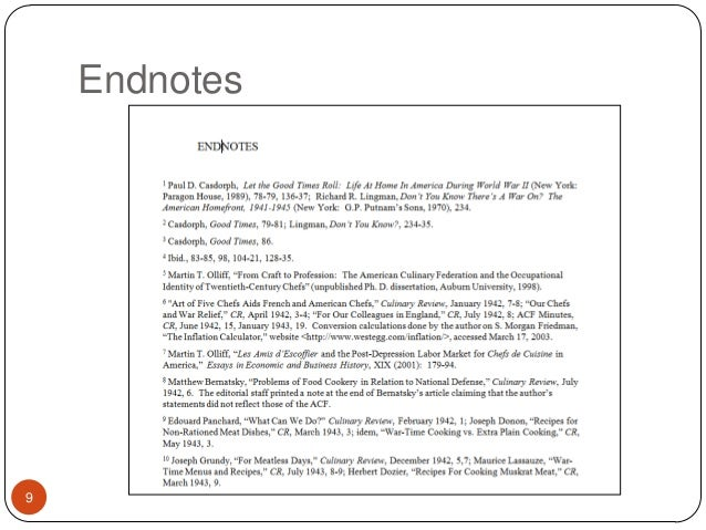 Do endnotes research paper