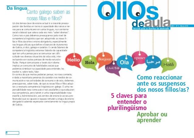 Da lingua                  Canto galego saben as                  nosas fillas e fillos?    Un dos temas clave do ensino a...