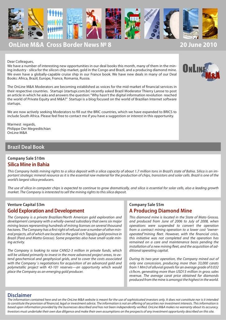 Online M&A newsletter jun8