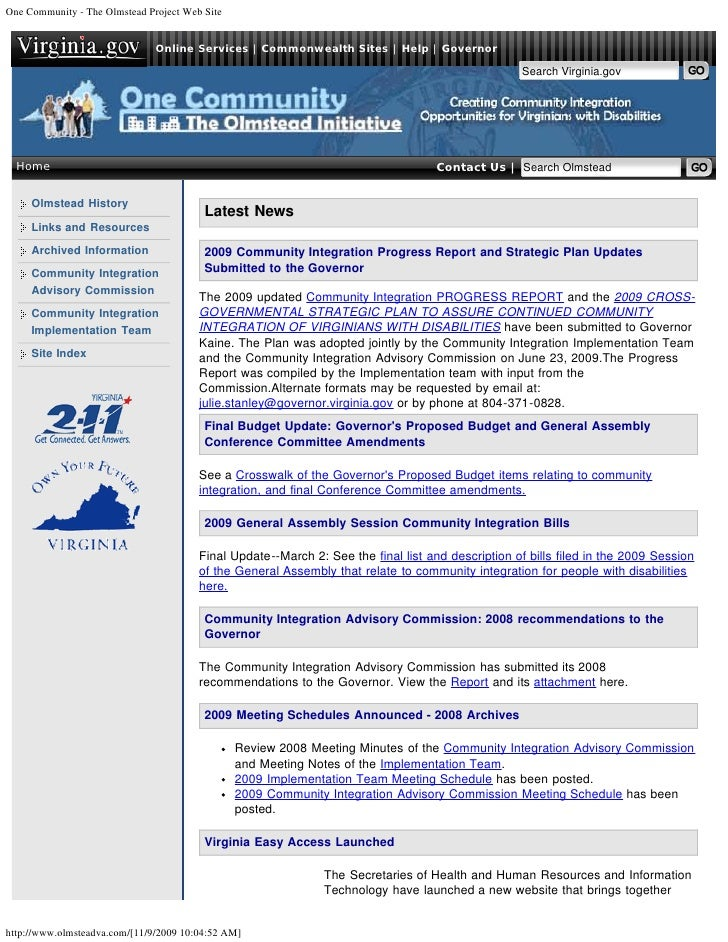 One Community - The Olmstead Project Web Site                                  Online Services | Commonwealth Sites | Help...