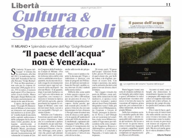 """Recensione del volume """"Il paese dell'acqua"""", di Alberto Marini, Ordine e Libertà, sabato 4 gennaio 2014"""
