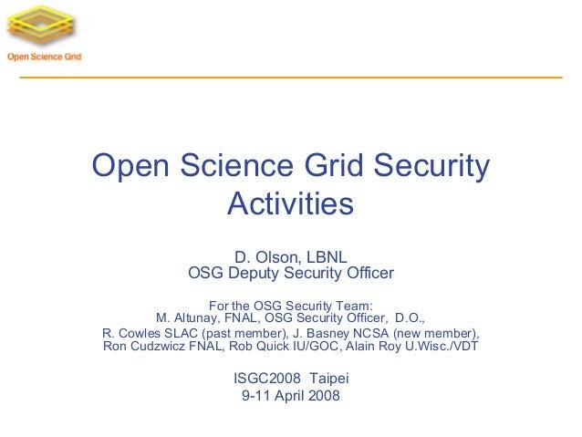 Security Open Science Grid Doug Olson