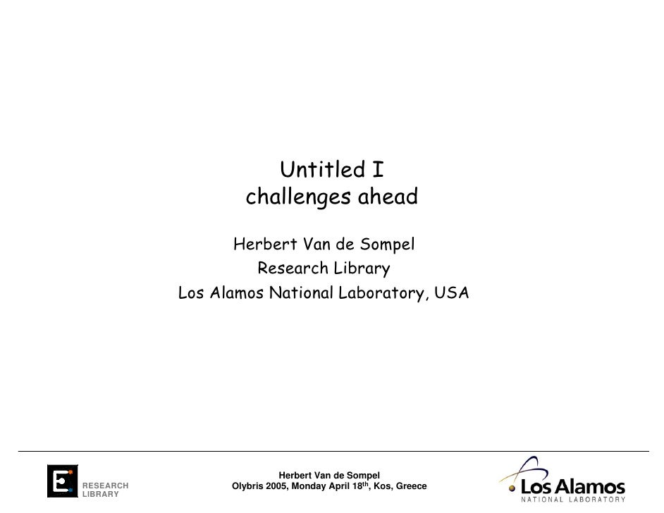Untitled I: Challenges ahead