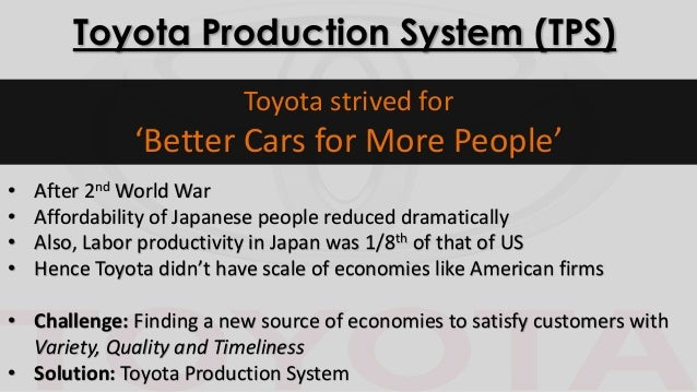 toyota operations management paper Toyota: operations management paper abstract the overlying mission of the toyota motor corporation is to develop and provide innovative, safe and outstanding high quality products and services that meet a wide variety of customers' demands to enrich the lives of people around the world (tmc, 2006.