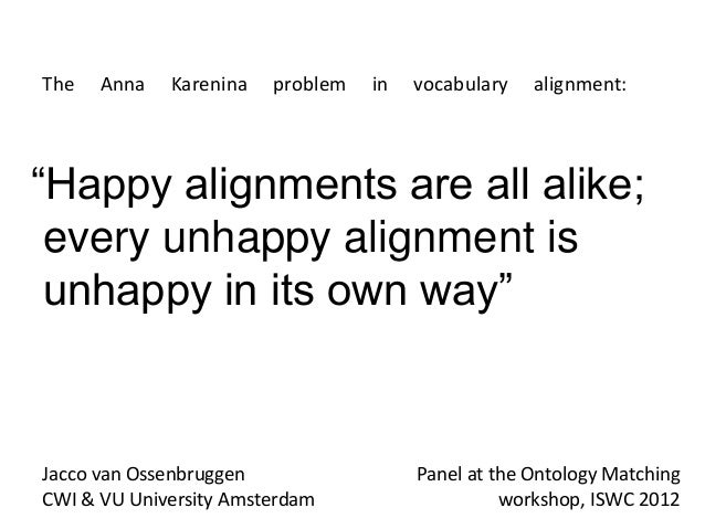 "The   Anna   Karenina   problem   in   vocabulary   alignment:""Happy alignments are all alike; every unhappy alignment is ..."