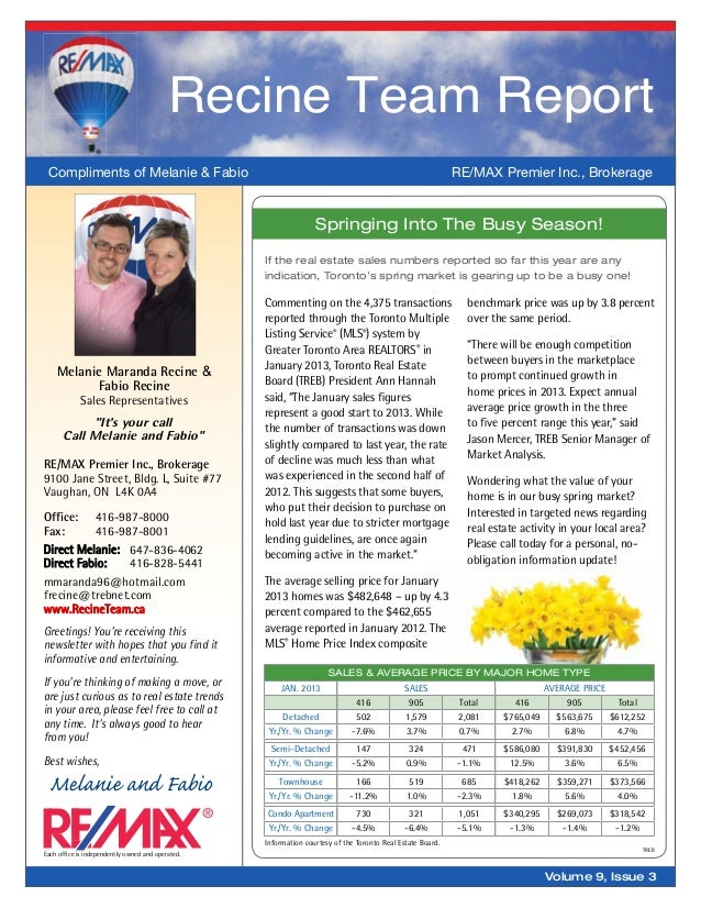 Springing Into The Busy Season!Information courtesy of the Toronto Real Estate Board.TREBSales & Average Price By Major Ho...