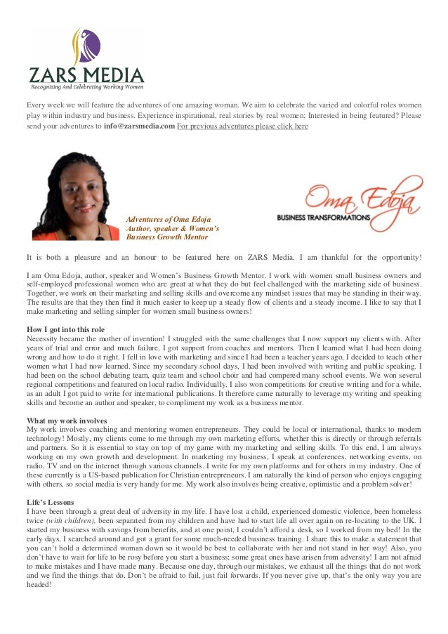 Oma Edoja Author, speaker &  Women's Business Growth Mentor