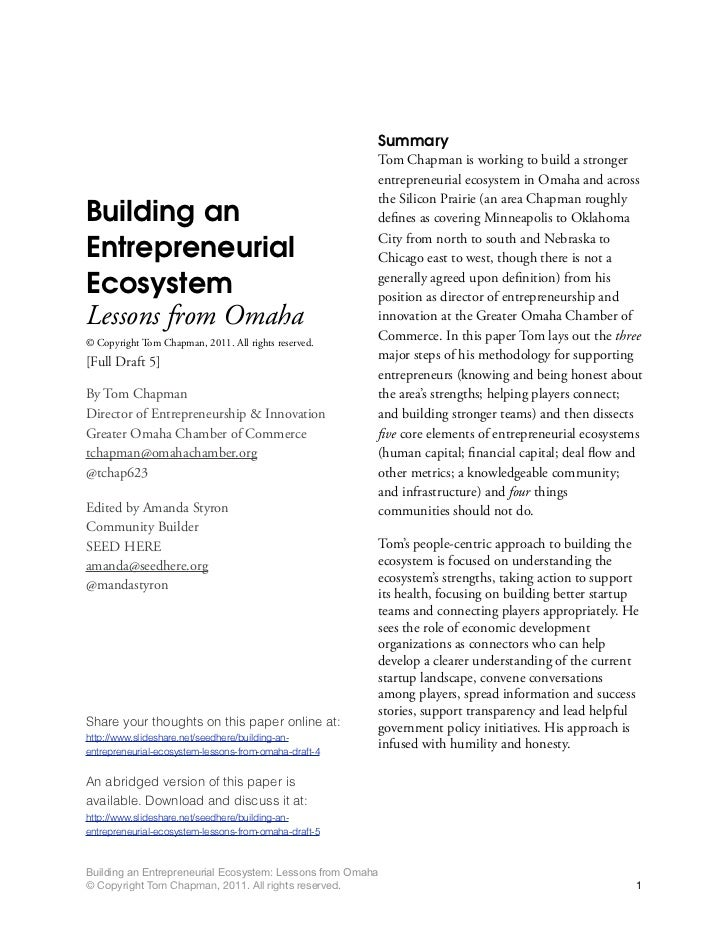 (Full Version) Building an Entrepreneurial Ecosystem: Lessons from Omaha (Draft 4)