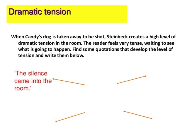 how does steinbeck create tension in At the moment i am studying of mice and men i have to write a mini essay (due in for tomorrow but was given today) in which i have to say how does steinbeck create tension when candy's dog.