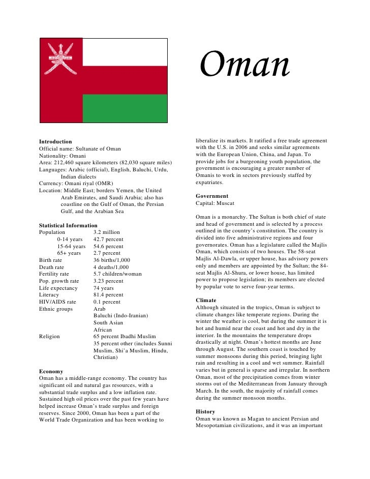 OmanIntroduction                                             liberalize its markets. It ratified a free trade agreementOff...