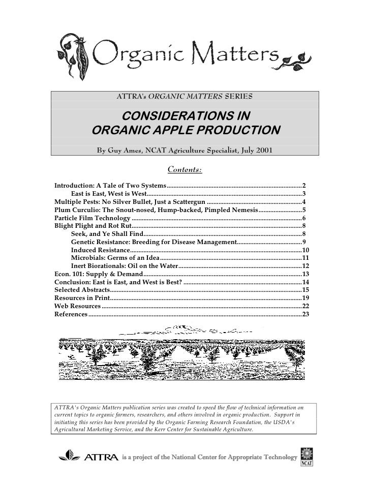 ATTRAs ORGANIC MATTERS SERIES                       CONSIDERATIONS IN                    ORGANIC APPLE PRODUCTION         ...