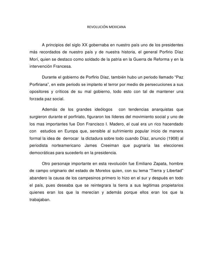 REVOLUCIÓN MEXICANA<br />A principios del siglo XX gobernaba en nuestro país uno de los presidentes más recordados de nues...