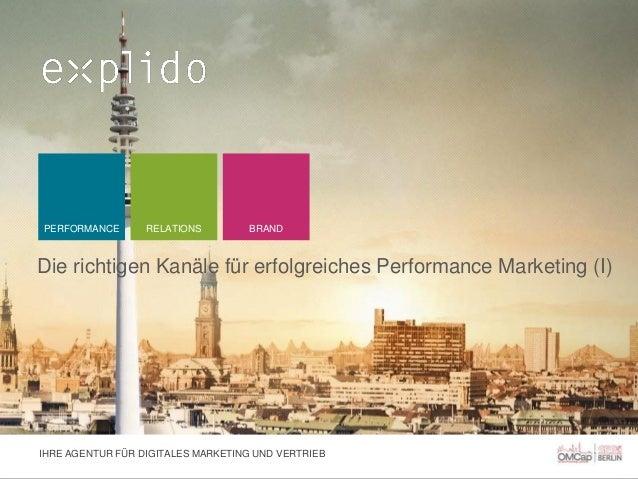 PERFORMANCE  RELATIONS  BRAND  Die richtigen Kanäle für erfolgreiches Performance Marketing (I)  IHRE AGENTUR FÜR DIGITALE...