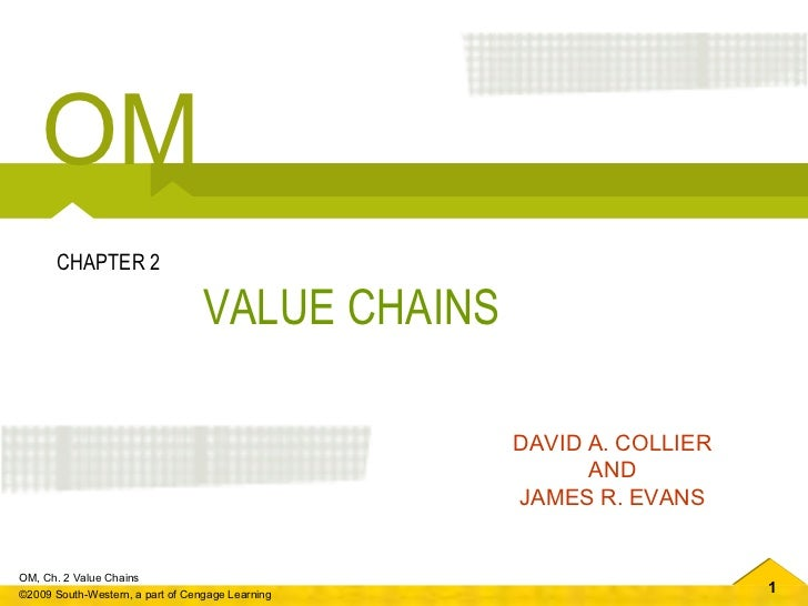VALUE CHAINS CHAPTER 2 DAVID A. COLLIER AND JAMES R. EVANS OM