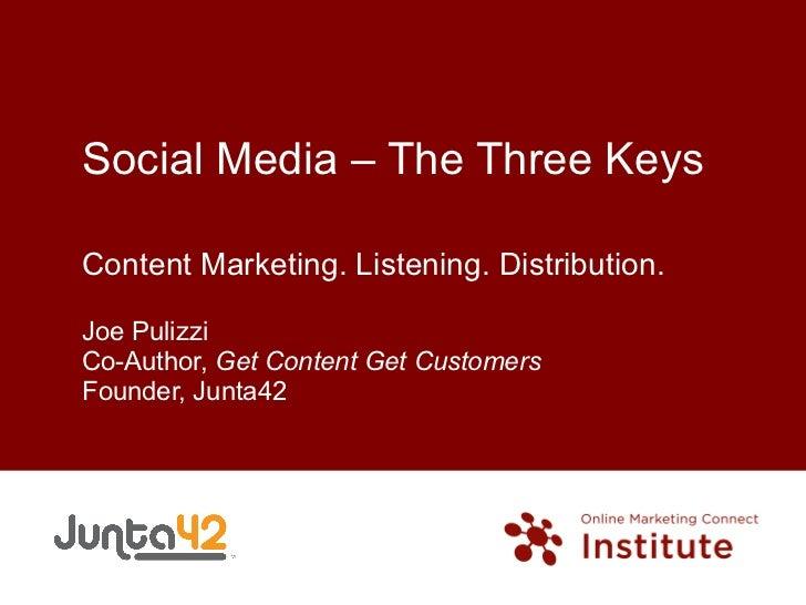 Social Media – The Three Keys Content Marketing. Listening. Distribution. Joe Pulizzi Co-Author,  Get Content Get Customer...