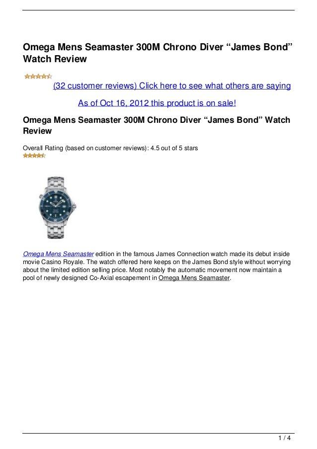 """Omega Mens Seamaster 300M Chrono Diver """"James Bond"""" Watch Review"""