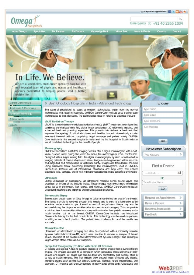 Cancer Cure Institute Treatments &Procedures Advanced Technology Achievements Experts The team of physicians is adept at m...