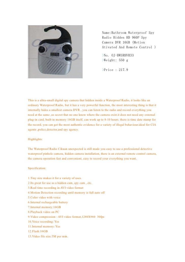 Omejo bathroom waterproof spy radio hidden hd 960 p spy camera dvr 16gb (motion ativated and remote control