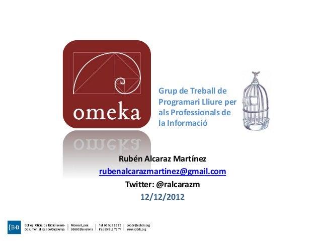 Exposiciones virtuales y distribución de colecciones digitales con Omeka (Taller COBDC)