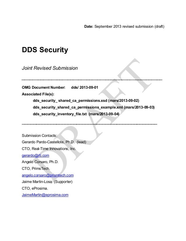 Date: September 2013 revised submission (draft) DDS Security Joint Revised Submission ____________________________________...