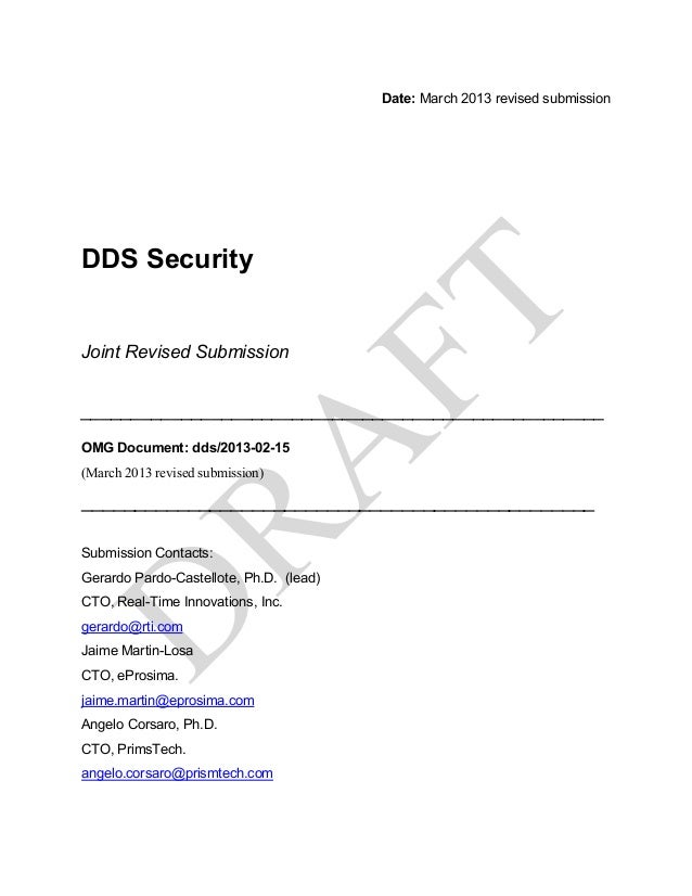 Date: March 2013 revised submissionDDS SecurityJoint Revised Submission___________________________________________________...